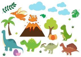 simpatici dinosauri personaggi dei cartoni animati illustrazione come spinosauro, parasaurolophus, stegosauro, tirannosauro, pterodattilo e diplodoco vettore