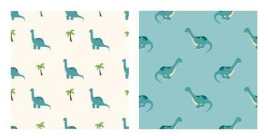 simpatici personaggi dei cartoni animati dinosauri diplodocus con motivo senza soluzione di continuità su sfondo carta da parati, poster o modello di banner. illustrazione vettoriale
