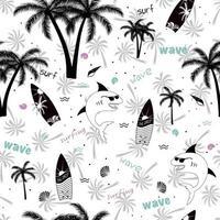 estate divertente disegno senza cuciture. squalo con occhiali da sole, palma, tavola da surf, onda e conchiglia. vettore
