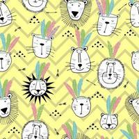 Leone indiano divertente senza soluzione di continuità con il disegno di piume. stampa per la progettazione grafica di t-shirt tessile. collezione illustrazione di leoni carino per i bambini. vettore