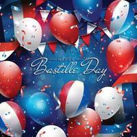 felice giorno della bastiglia con palloncini e coriandoli vettore