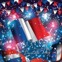 felice giorno della bastiglia con bandiera e fuochi d'artificio vettore