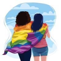 coppia lesbica che abbraccia con orgoglio bandiera lgbtq vettore