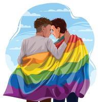 coppia omosessuale che abbraccia con orgoglio bandiera lgbtq vettore