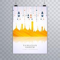 Elegante modello di scheda dell'opuscolo religioso Ramadan Kareem