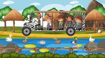 scena di safari con bambini in auto turistica che guardano il gruppo di anatre vettore