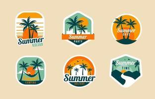 collezione di set di badge estivi vettore