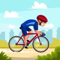 un ciclista che guida l'illustrazione di attività all'aperto di sport della bici vettore