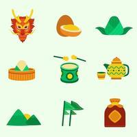 set di icone del festival cinese della barca del drago vettore