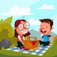 illustrazione di attività all'aperto del cestino da picnic vettore