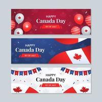 felice giorno del canada evento nazionale festival banner set vettore