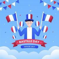 commemorazione dell'evento nazionale francese del giorno della bastiglia vettore