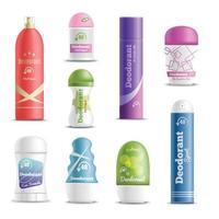 deodorante spray stick realistico set illustrazione vettoriale