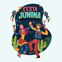 ballare insieme alle maracas in festa junina festival vettore