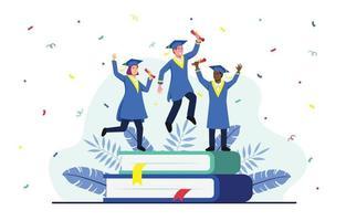 celebrazione della laurea con 2 uomini in piedi sul libro vettore