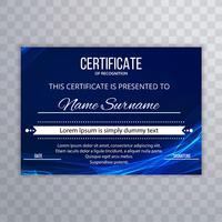Disegno del modello di certificato elegante onda astratta