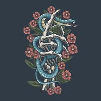il serpente è sulle ossa della mano dello scheletro con i fiori vettore