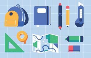 raccolta di materiale scolastico icona cancelleria vettore