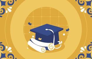 sfondo di laurea con carta e cappello di laurea vettore