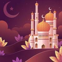 bella moschea nel concetto di colore sfumato vettore