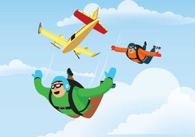 Lo Skydiver salta da un'illustrazione dell'aeroplano vettore
