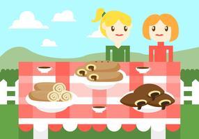 Vettore piano dell'illustrazione del cioccolato dei dolci della focaccina al latte