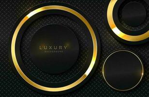 sfondo 3d realistico con forma di cerchio d'oro lucido vettoriale forma di cerchio dorato su elemento di design grafico superficie nera