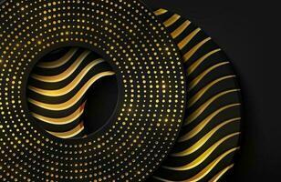 sfondo realistico di lusso 3d con forma di cerchio d'oro illustrazione vettoriale di forme di cerchio nero strutturato con linee ondulate dorate