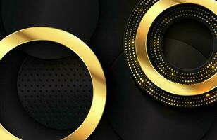 sfondo elegante di lusso con elemento cerchio in oro lucido e particelle di punti sulla superficie di metallo nero scuro elegante sfondo astratto sfondo vettore