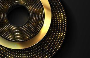 sfondo realistico 3d di lusso con forma di cerchio d'oro lucido vettore