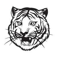 testa di tigre arrabbiata è ruggente illustrazione in bianco e nero vettore