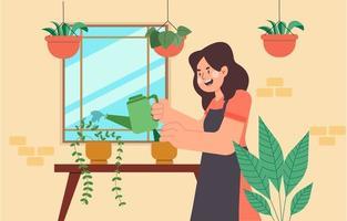 personaggio femminile che innaffia le piante nell'accogliente giardino di casa vettore
