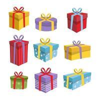 elemento di scatola regalo colorato in design piatto vettore
