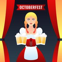 Cameriera di bar tedesca della ragazza in vestiti tradizionali che tengono le tazze di birra gialla Vector l'illustrazione variopinta
