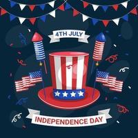4 luglio celebrazione del giorno dell'indipendenza vettore