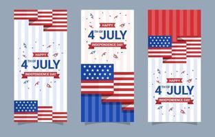 Collezione di banner del 4 luglio vettore