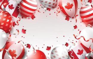 sfondo di giorno del Canada con palloncini e coriandoli vettore