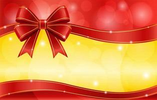 fiocco di nastro rosso con oro incandescente e sfondo rosso vettore