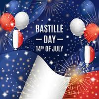 concetto di festa del giorno della bastiglia con palloncini e composizione di bandiera vettore