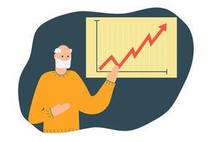 anziano pensionato mostra un grafico grafico di illustrazione piatta delle finanze vettore