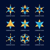set logo stella gialla blu sfumata vettore