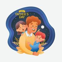 super papà con suo figlio e sua figlia nel cielo notturno vettore