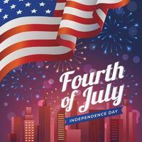 fuochi d'artificio colorati per il giorno dell'indipendenza con la bandiera dell'america vettore