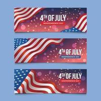 set di banner usa giorno dell'indipendenza vettore