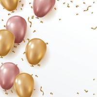 sfondo modello di compleanno con palloncino e coriandoli vettore