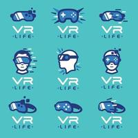 set di modelli di logo di realtà virtuale vettore
