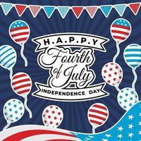 quarto di luglio sfondo con bandiera e palloncino vettore
