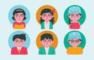 coppia persone avatar icone impostate vettore