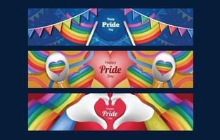 modello di set di banner colorato felice orgoglio giorno vettore