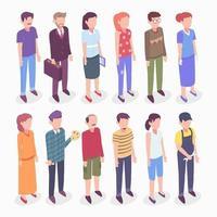 carattere isometrico di persone diverse vettore